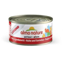 Nourriture pour chat Almo en boite de 70gr au poulet avec des crevettes.