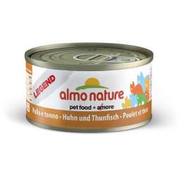 Nourriture pour chat Almo en boite de 70gr au poulet avec du thon.