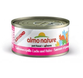 Cat food Almo in a box of 70 g salmon and chicken.