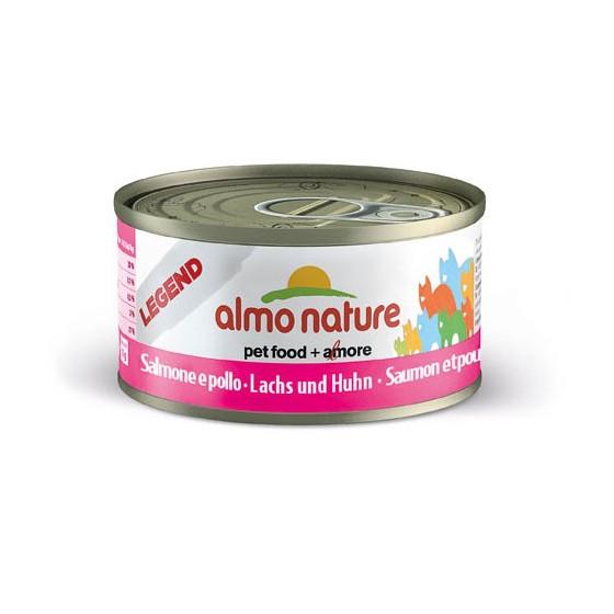 Nourriture pour chat Almo en boite de 70gr au saumon et au poulet.