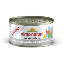 Nourriture pour chat Almo en boite de 70gr au thon et calamars.