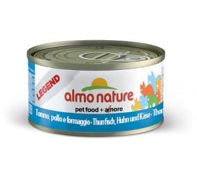 Cat food Almo in a box of 70 g tuna chicken and cheese.