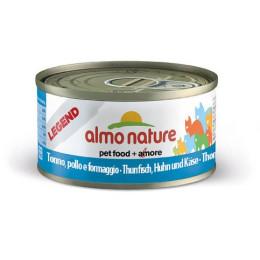 Nourriture pour chat Almo en boite de 70gr au thon, poulet et fromage.