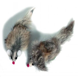 Souris en fourrure 12cm, avec Catnip.