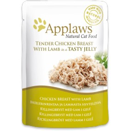 Aliment pour chat Applaws en sachet blanc de poulet et agneau