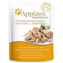 nourriture pour chat applaws au poulet et boeuf en sachet de 70gr