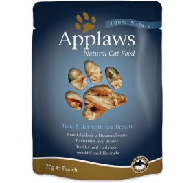 Food for cats Applaws tuna and sea bream in bags of 70 g,