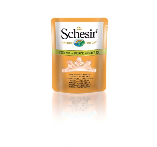 Schesir Cat Pouch 70g (clear soup), Tuna with sardines