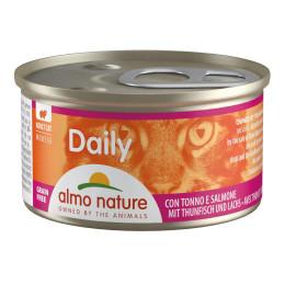 Aliment pour chat Almo en boite de 85gr mousse au thon & saumon.