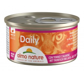 Food for cats Almo in a box of 85gr mousse tuna & salmon.