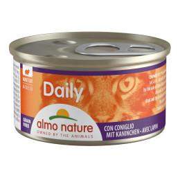 Aliment pour chat en mousse Almo, boite de 85gr, au lapin.
