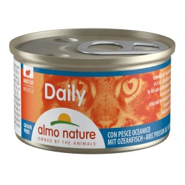Nourriture pour chat en mousse Almo, boite de 85gr, au poisson.