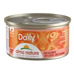 Nourriture pour chat en mousse Almo, boite de 85gr, au saumon.