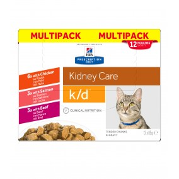 Prescription Diet ™ k / d™ Feline Sachet Chicken Beef Salmon 4x (12x85gr)