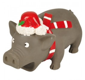 Toy Dog Christmas Latec Pig with Bonnet 21cm