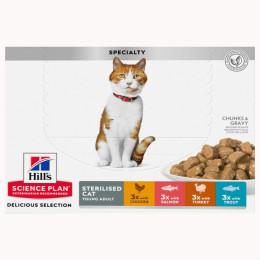 Hill's feline sachet Adult Sterilised 4 Flavours 12x85g